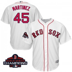 Boston Red Sox Pedro Martinez Official White Replica Youth Majestic Cool Base Home 2018 World Series Champions Player MLB Jersey