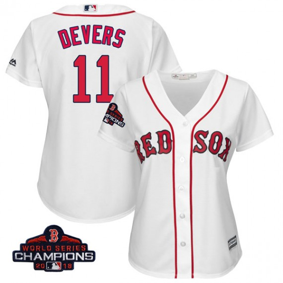 Boston Red Sox Rafael Devers Official White Replica Women s Majestic Cool  Base Home 2018 World Series 36accb11081