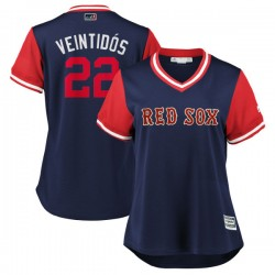 "Boston Red Sox Rick Porcello Official Navy/Red Replica Women's Majestic ""VEINTIDÓS"" 2018 Players' Weekend Cool Base Player MLB J"