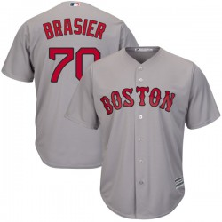 Boston Red Sox Ryan Brasier Official Gray Replica Men's Majestic Cool Base Road Player MLB Jersey