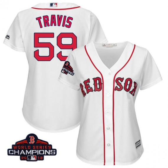 brand new 909cf 70051 Boston Red Sox Sam Travis Official White Authentic Women's Majestic Cool  Base Home 2018 World Series Champions Player MLB Jersey ...