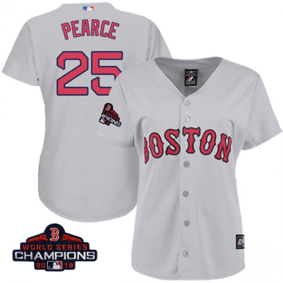 official photos 4bc0a 50bb2 Boston Red Sox Steve Pearce Official Gray Replica Women's Majestic Cool  Base Road 2018 World Series Champions Player MLB Jersey ...