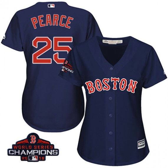 new product 950af 8d197 Boston Red Sox Steve Pearce Official Navy Authentic Women's Majestic Cool  Base Alternate Collection 2018 World Series Champions Player MLB Jersey ...