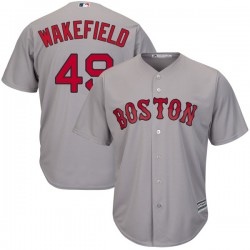 Boston Red Sox Tim Wakefield Official Gray Authentic Youth Majestic Cool Base Road Player MLB Jersey