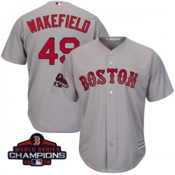 Boston Red Sox Tim Wakefield Official Gray Replica Youth Majestic Cool Base Road 2018 World Series Champions Player MLB Jersey