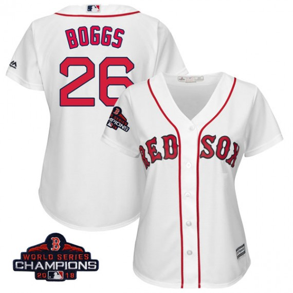 best service 94230 5647e Boston Red Sox Wade Boggs Official White Replica Women's Majestic Cool Base  Home 2018 World Series Champions Player MLB Jersey S,M,L,XL,XXL,XXXL,XXXXL